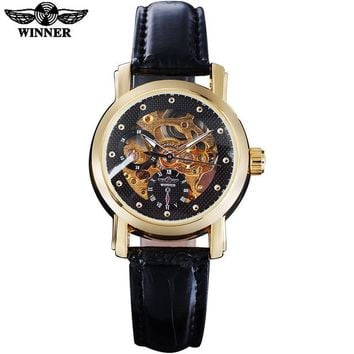 fashion women mechanical watches leather strap casual brand