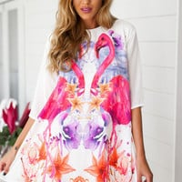 Violet Flamingo Print Half Sleeve A-Line Mini Dress