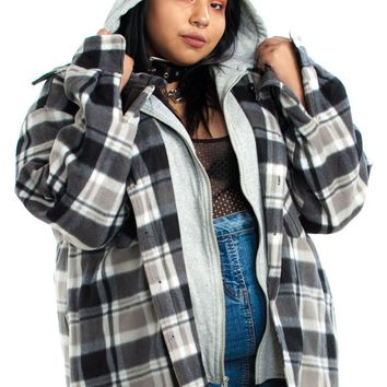 Vintage Y2K Double Trouble Hooded Flannel - 2X/3X/4X