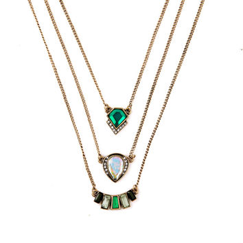 Multilayer Emerald Necklaces