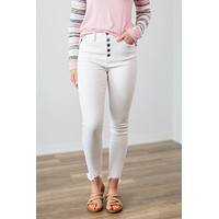 Kan Can White Exposed Button Jeans