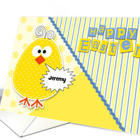 Custom Easter Chick in Yellow and Blue for Kids card
