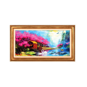 Diamond Painting Full-jewelled Round Diamond Oil Painting Mediterranean Garden Small House Diamond Paste Cross Stitch Diamond Stitch