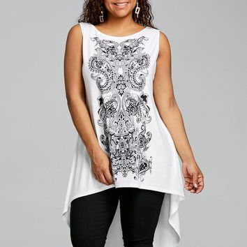 O Neck Sleeveless Paisley T-Shirt