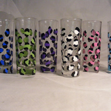 hand painted wedding bridesmaid shot glasses in assorted leopard print - can be personalized