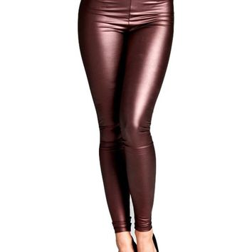 Pleather Fitted Legging, Burgundy