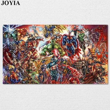 Marvel Poster Heroes DC Comics Muscle Superheroes Universe Character Wall Art Canvas Picture Kids Room Decor Gift