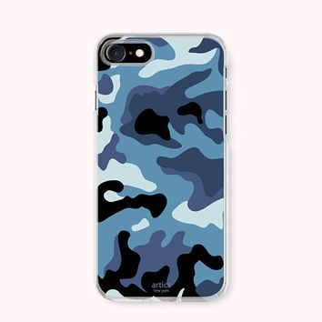 Tropical iPhone 8 Case, iPhone 8 Plus Case, iPhone 7 Case, iPhone 6 /6S Plus Case, iPhone 5/5S/SE Case, Galaxy S8 Case - Blue Camouflage