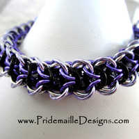 Elfweave Bracelet - Purple Lavender Black Silver - Chainmaille Jewelry