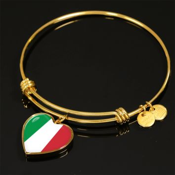 Italian Pride - 18k Gold Finished Heart Pendant Bangle Bracelet