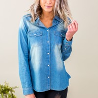 Grace & Lace Everyday Chambray Shirt (XS-2X)