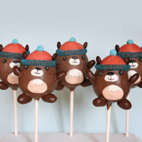 12 Groundhog Cake Pops, party favors for Groundhog Day, inspired by MukMuk the Marmont, the Vancouver Winter Olympics mascot