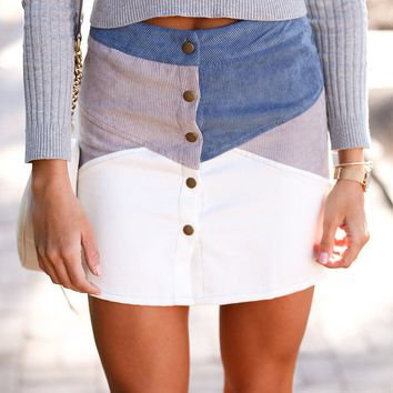 Straight To Heaven Corduroy Button Down Color Blocked Mini Skirt (Dusty Blue)
