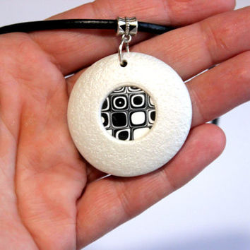 Modern black and white polymer clay necklace.Handmade, unique jewelry.