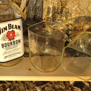 Jim Beam Bourbon Drinking Glasses made from Recycled Jim Beam Bottles Set of 2