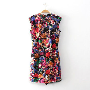 Summer Print Abstract Casual Sleeveless Shorts Jumpsuit [4917822276]