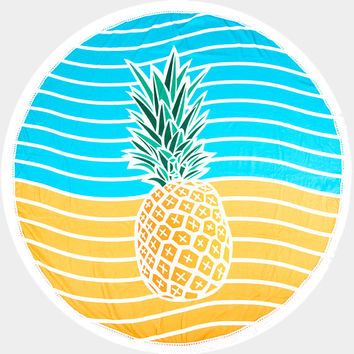 Yellow & Blue Stripe Pineapple Round Cotton Beach Towel, Round Beach Throw with Tassel Trim Beach blanket / Beach towel / Wrap / Rug