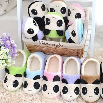 Winter slippers Ms couples panda lovely home cartoon slippers cotton mop household thick cotton slippers = 1930228740