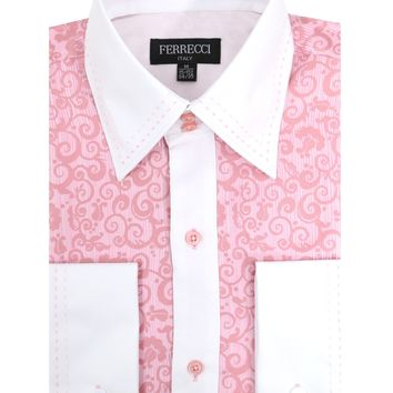 Ferrecci Men's Satine Hi-1027 Pink Scroll Pattern Button Down Dress Shirt