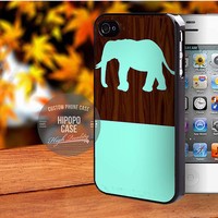 Mint Elephant on Dark Wooden Pattern case for iPhone 5/5s/5c/4/4s/6/6+,iPod 4th 5th,Samsung Galaxy S3/S4/S5,Note 2/3,HTC One,LG Nexus