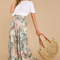There's Always More Sage Tropical Print Pants