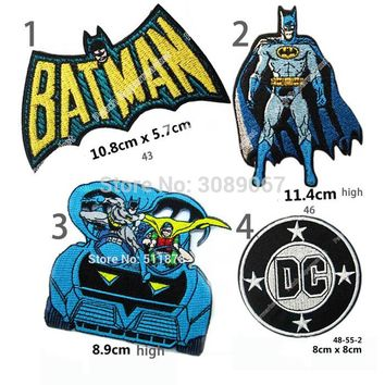 "Set of Four 4.3"" Batman Superman DC Comic LOGO Gift Promo Embroidered Movie TV Series Applique Sew On Iron On Patch"