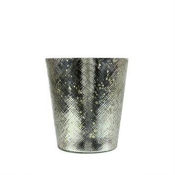 "5.5"" Decorative Shiny Silver Mercury Glass Votive Candle Holder"
