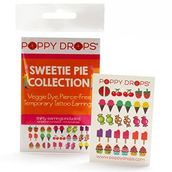 Sweetie Pie Collection - Veggie-Based Temporary Tattoo Earrings. Safe, Non-Toxic Ear Piercing Alternative.