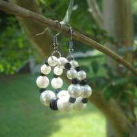 Black and White Classic Hoop Earrings - Handmade Jewelry