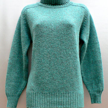 1960's Pure New Wool Pullover - Turtleneck Sweater - Bucks Countian - Turquoise Blue Green - Women's Size Small (S)