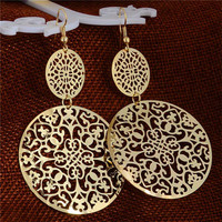 Round Hollow Gold Filled Dangle Earrings
