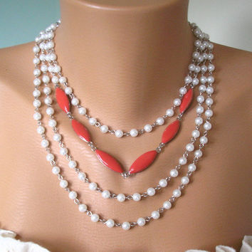Backdrop Necklace, Pearl Necklace Wedding, Backdrop Necklaces, Pearl Choker, Necklace Backdrop, Bridal Necklace, Coral Necklace, Upcycled