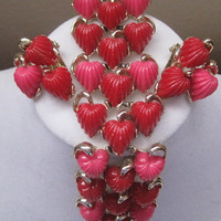 Vintage Red And Pink Bracelet And Earring Set-Lovely Gift Set