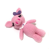 Amigurumi Pig Crochet Pig Crochet Baby Rattle Stuffed Toy Pig Nursely Toy Baby Toy Kawaii Pink Pig Plush Baby Shower Gift Ideas