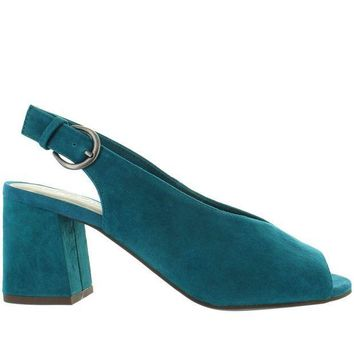 CREYONIG Seychelles Playwright - Teal Suede Sling-Back Sandal