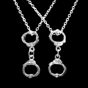 Handcuff Best Friends Partners In Crime Friend Sister Gift 2 Necklace Set