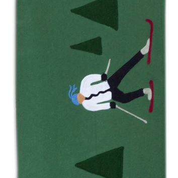 "Cross Country Skier Wool Blanket 52""L X 70""W"