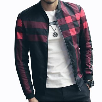 Hotsale Plaid Jacket Men Bomber Jacket Fashion Slim Mens jackets and Coats Chaquetas Hombres Jaquetas Bomber Plus Size 4XL 5XL