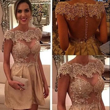 Gold Homecoming Dress, Scoop Neck Cap Sleeve Applique Homecoming Dresses, Party Dress