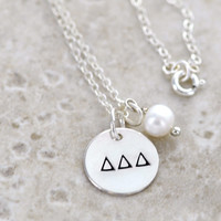 DELTA DELTA DELTA Sterling Silver Hand Stamped Necklace with freshwater pearl