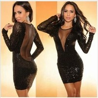 DEEP SHINT RHINESTONE DRESS
