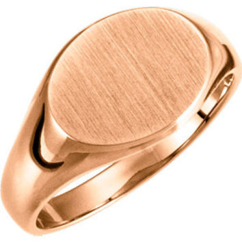 18K Yellow Ladies Oval Signet Ring