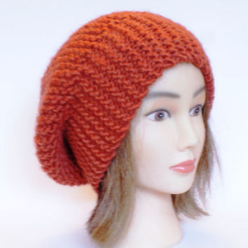 Beret style slouch hat burnt orange slouchy beanies hats women knitted irish handknit
