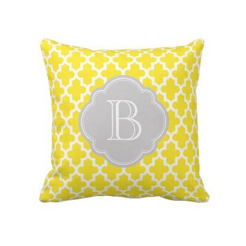 Yellow & Gray Modern Moroccan Custom Monogram Throw Pillow from Zazzle.com