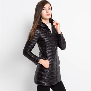 Long Down Jacket Women Winter Hooded Jacket Ultra Light Down Coat Quilted Solid Black Red