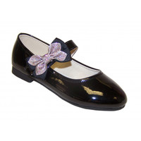 Girls black patent party shoes