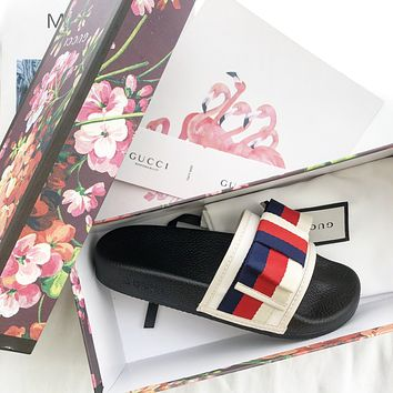 Gucci Butterfly-knotted slippers
