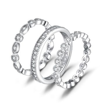 Jewelry Palace 2.1ct Cubic Zirconia 3 Stackable Wedding Band Rings Bridal Sets 925 Sterling Silver