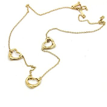 Tiffany & Co. Elsa Peretti 3 Open Heart Necklace in 18k Yellow Gold 16""
