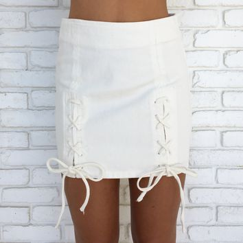 Marley Mini Skirt in Off White